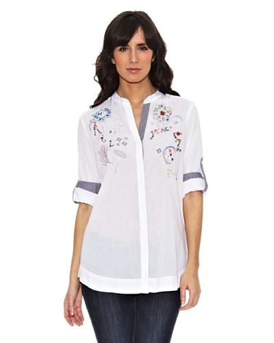 Janis Camisa Bordados Trabillas Blanco