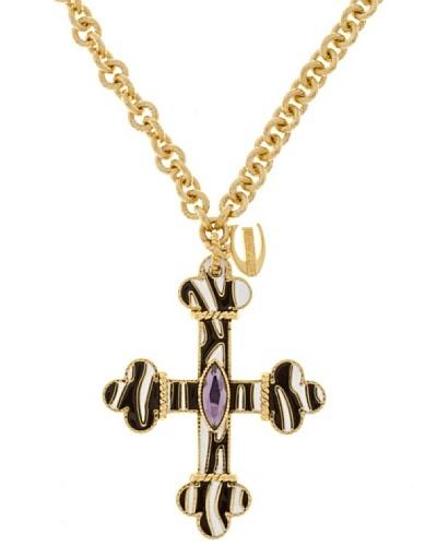 Just Cavalli Collar Cebra Croce Oro/Negro