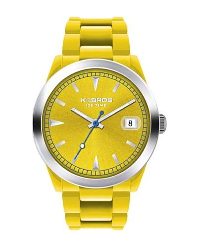 K&BROS 9539-4 / Reloj Unisex con correa de caucho amarillo