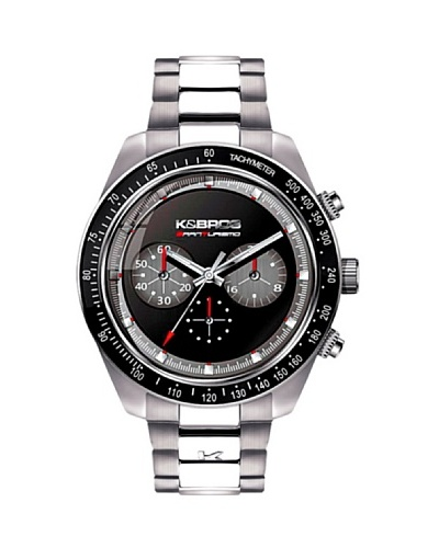 K&BROS 9481-4 / Reloj de Caballero con brazalete metálico negro / gris