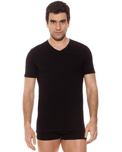 Kappa Camiseta mc Caballero Cuello Pico Algodón Elástico Negro