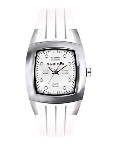 K&BROS 9103-8 / Reloj de Señora con correa de caucho Blanco