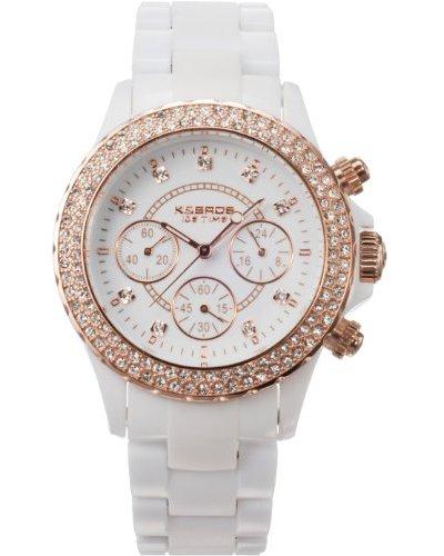 K&BROS 9553-2 / Reloj de Señora con correa de plástico Blanco