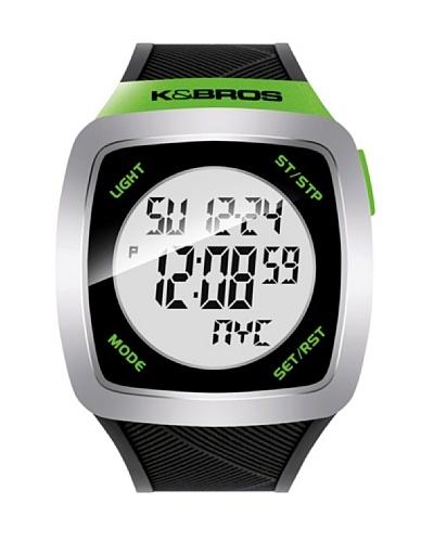 K&BROS 9567-2 / Reloj Unisex  con correa de caucho Negro / Verde