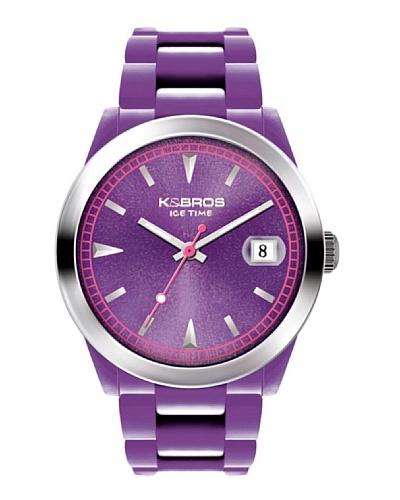 K&BROS 9539-11 / Reloj Unisex con correa de caucho Morado