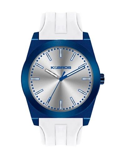 K&BROS 9560-5 / Reloj Unisex  con correa de caucho Azul / Blanco