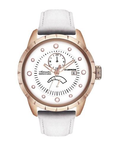 K&BROS 9444-2 / Reloj de Caballero  con correa de piel blanco