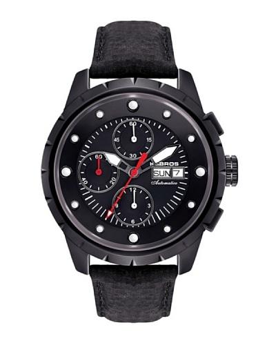 K&BROS 9442-4 / Reloj de Caballero  con correa de piel Negro