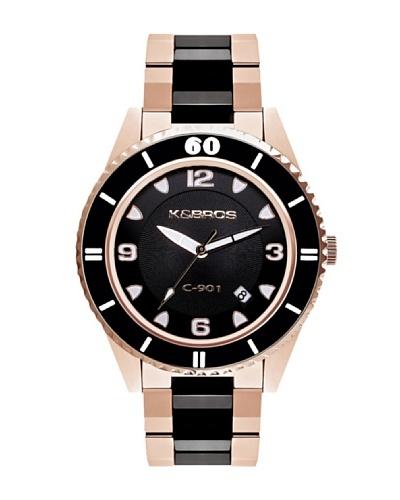 K&BROS 9113-3 / Reloj Unisex  con brazalete metálico negro