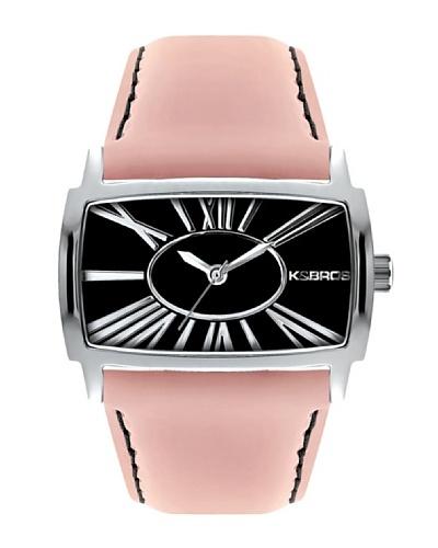 K&BROS 9147-1 / Reloj de Señora  con correa de piel Negro / Rosa