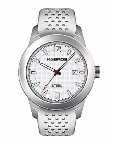 K&BROS 9446-2 / Reloj de Caballero  con correa de piel Blanco