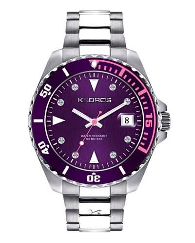 K&BROS 9175-2 / Reloj de Señora  con brazalete metálico Morado
