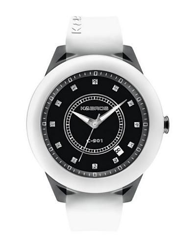 K&BROS 9165-2 / Reloj de Señora  con correa de caucho Negro / Blanco