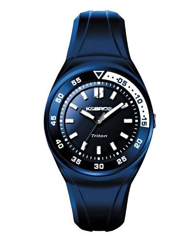 K&BROS 9475-4 / Reloj de Caballero  con correa de caucho Azul / Blanco