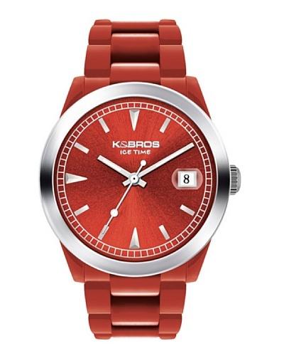 K&BROS 9541-3 / Reloj Unisex  con correa de caucho rojo