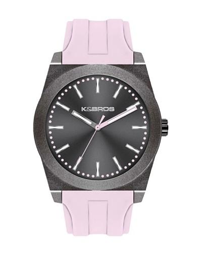 K&BROS 9560-8 / Reloj Unisex  con correa de caucho Gris / Rosa