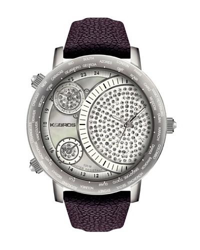 K&BROS 9146-3 / Reloj de Señora  con correa de piel Morado