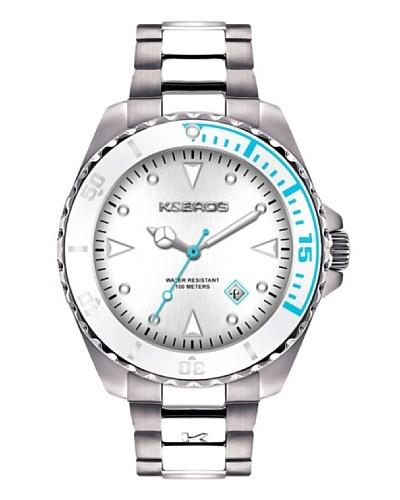 K&BROS 9472-4 / Reloj de Caballero con brazalete metálico Blanco