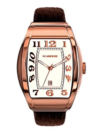 K&BROS 9424-5 / Reloj de Caballero  con correa de piel marrón