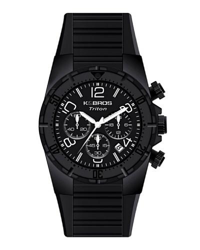 K&BROS 9480-1 / Reloj de Caballero con correa de caucho negro