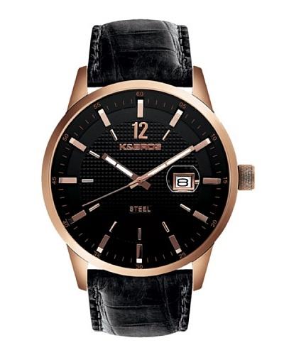 K&BROS 9439-3 / Reloj de Caballero  con correa de piel Negro