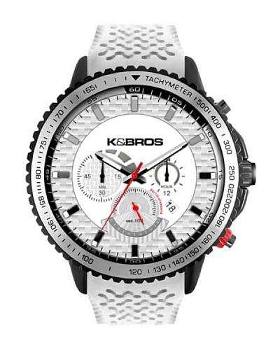 K&BROS 9459-2 / Reloj de Caballero con correa de caucho Negro / Blanco
