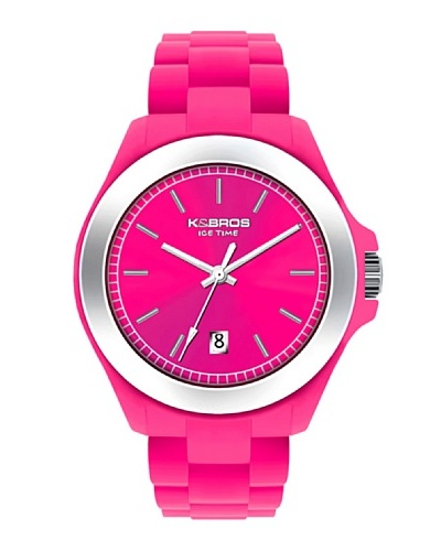 K&BROS 9549-5 / Reloj Unisex con correa de caucho Fucsia