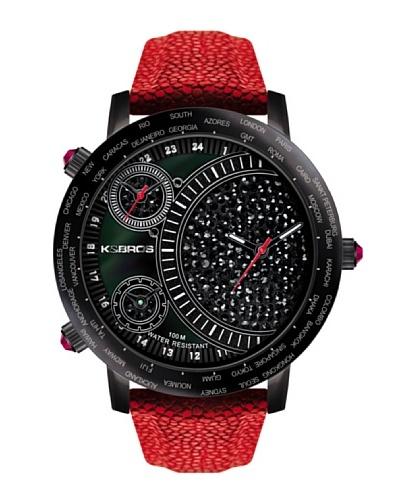 K&BROS 9146-2 / Reloj de Señora  con correa de piel negro / rojo
