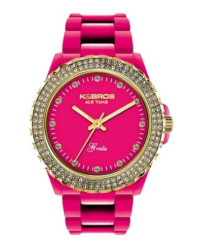 K&BROS 9552-6 / Reloj de Señora  con correa de plástico Fucsia