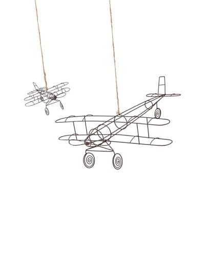 Korb Set 2 Aviones Colgantes Metal 60 Cm