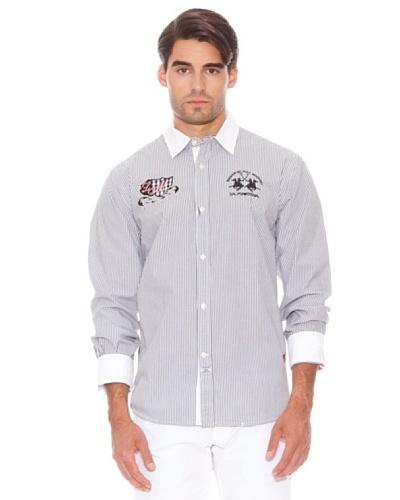 La Martina Camisa Maza Manga Larga Puños Abotonados Rayas Gris / Blanco
