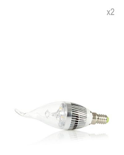 Hispania Pack 2 Bombillas LED E14 casquillo fino 3W de consumo | 180 lumens, luz cálida 3000K