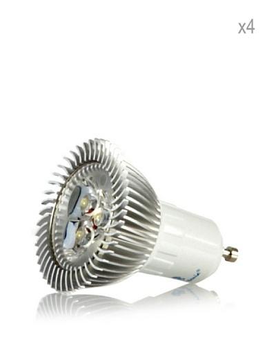 Hispania Pack 4 Dicroicas LED GU10 borne 5W de consumo | 220 lumens, luz fría 6000K