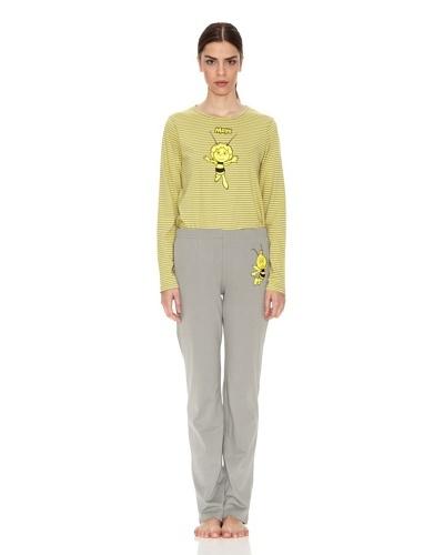 Licencias Pijama Adulto Top Amarillo Rayas Pantalón Gris