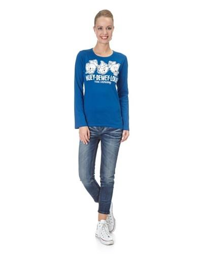 Logoshirt Camiseta Manga Larga Apretada Disney Huey, Dewey, Louie Azul