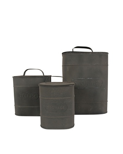 Love Industrial Set de tres cubos Zinc