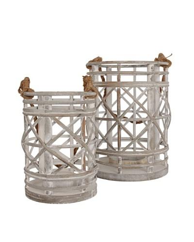 Love Industrial Set de 2 porta velas Rattan