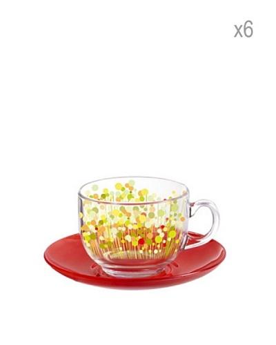 Luminarc Set 6 Tazas Con Plato 22 Cl Modelo Flowerfield Rojo