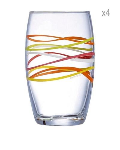 Luminarc Estuche 4 Vasos Forma Alta 36 Cl Modelo Rubans