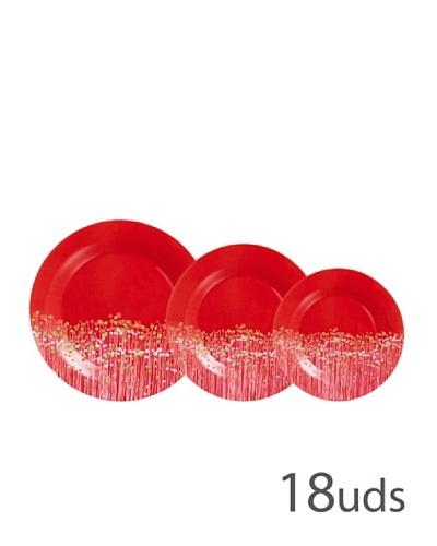 Luminarc Vajilla Redonda 18 Piezas Modelo Flowerfield Red