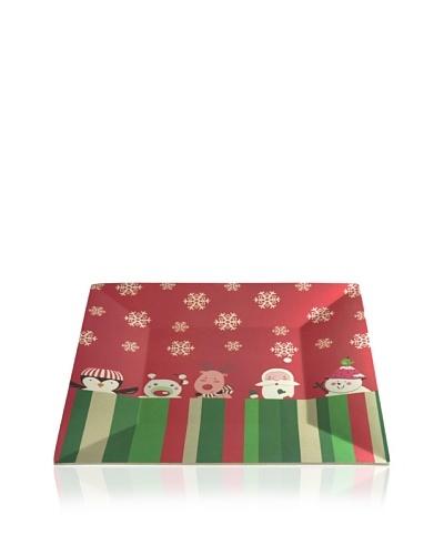 Lurch Big Green Foot Plato Cuadrado Invitados de Navidad Rojo 28 cm