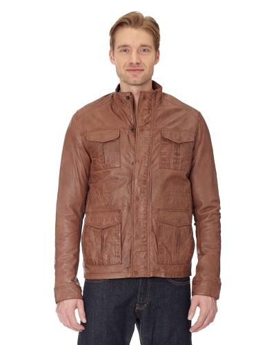 Maze Long Biker jacket With Hidden Zip Facing Hombre Cognac