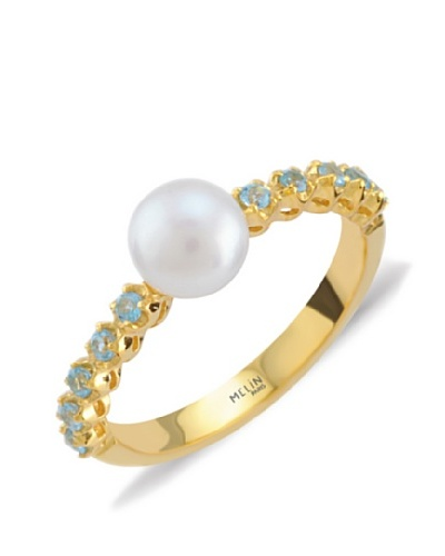 Melin Paris Anillo White Pearl & Topaz Blue MLNJFR559PWTB