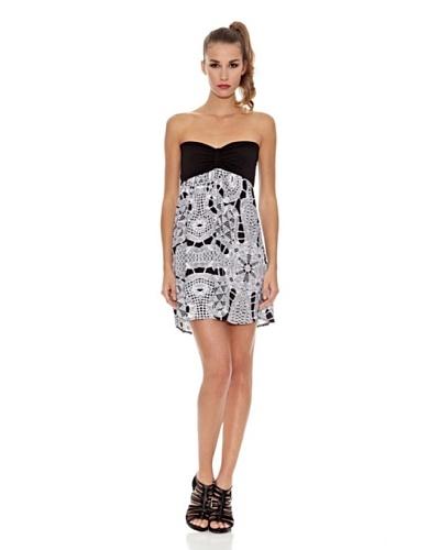 Milles Barcelona Vestido Recto Bicolor Blanco / Negro