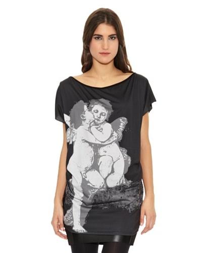 Milles Camiseta Larga Crema Angeles Enamorados Negro