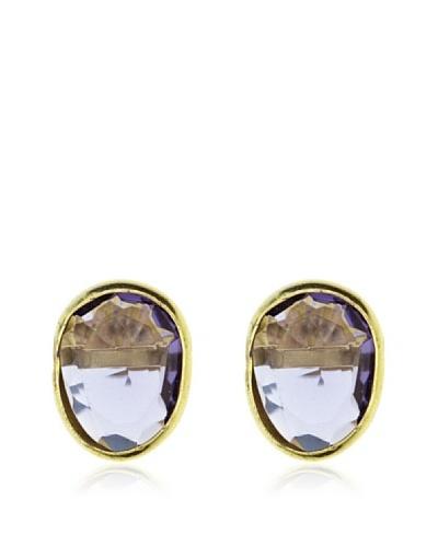 My Silver Pendientes Luxury Amatista Oro