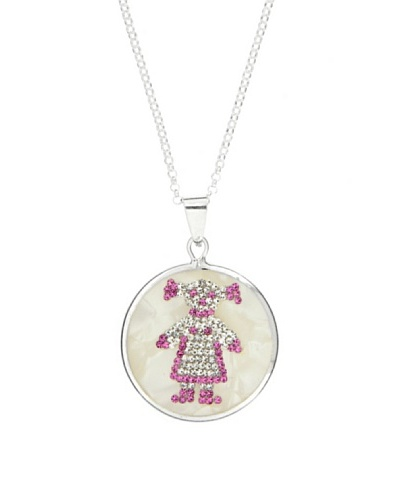 My Silver Gargantilla Medalla Niña de Circonitas en Nácar