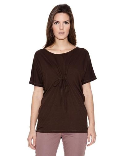 Naf Naf Camiseta Fruncido Lazo Marrón