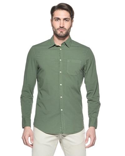Nautica Camisa Solid Manga Larga Verde
