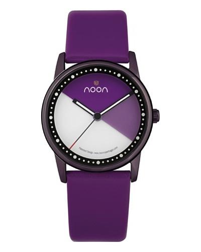 Noon Design Collection – Reloj analógico unisex de cuarzo con correa de piel lila
